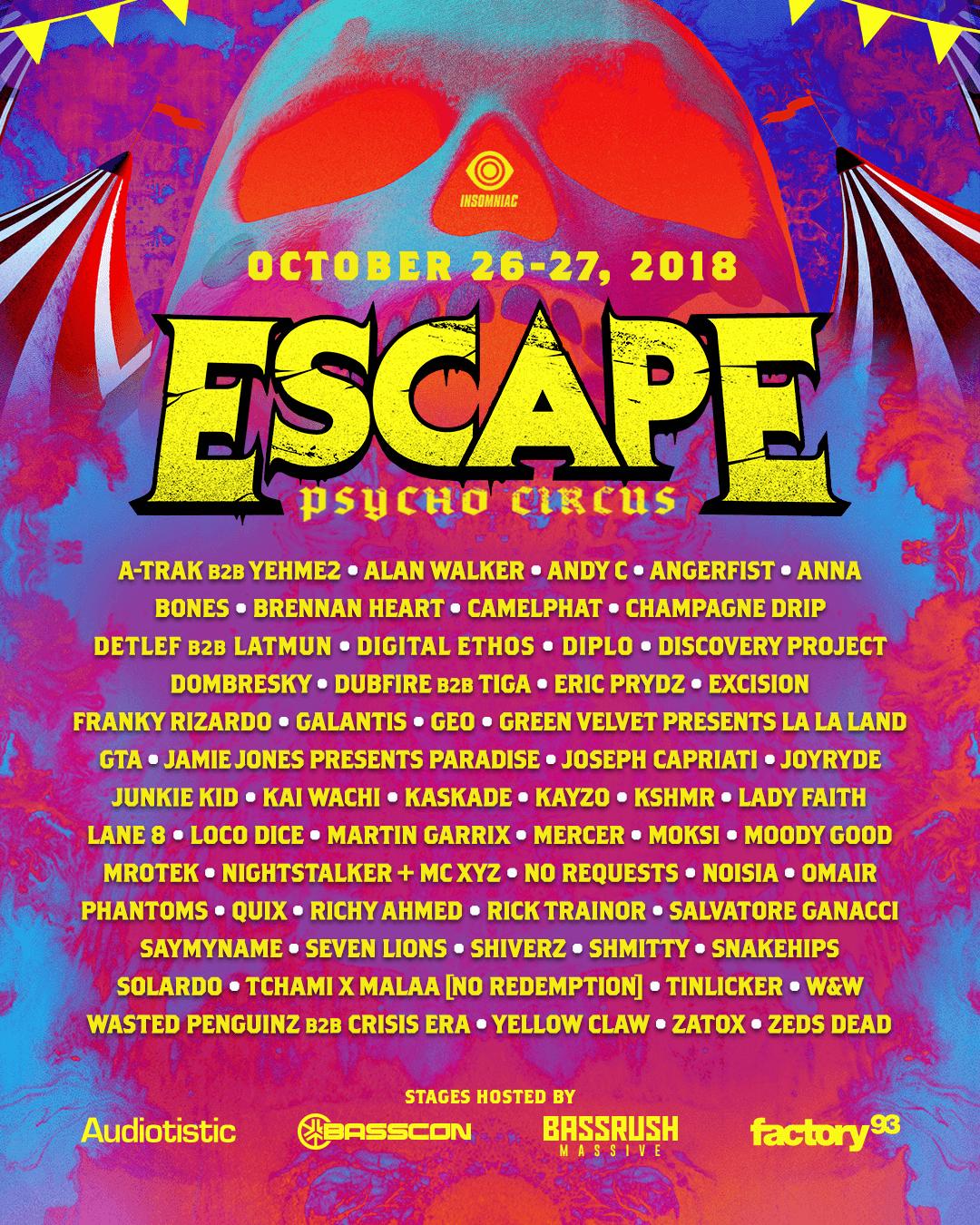 Escape 2018 Lineup