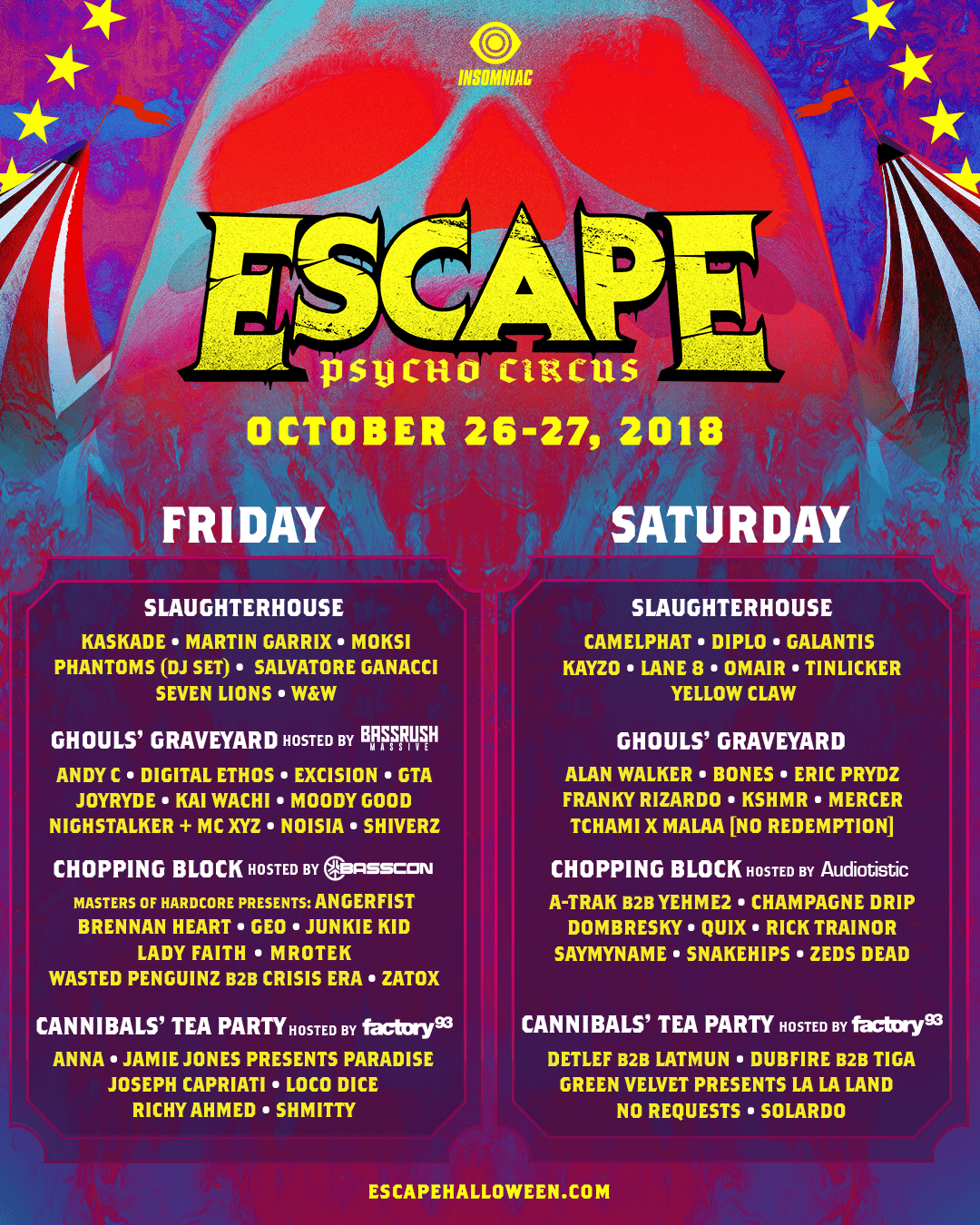 Escape Lineup By Day By Stage