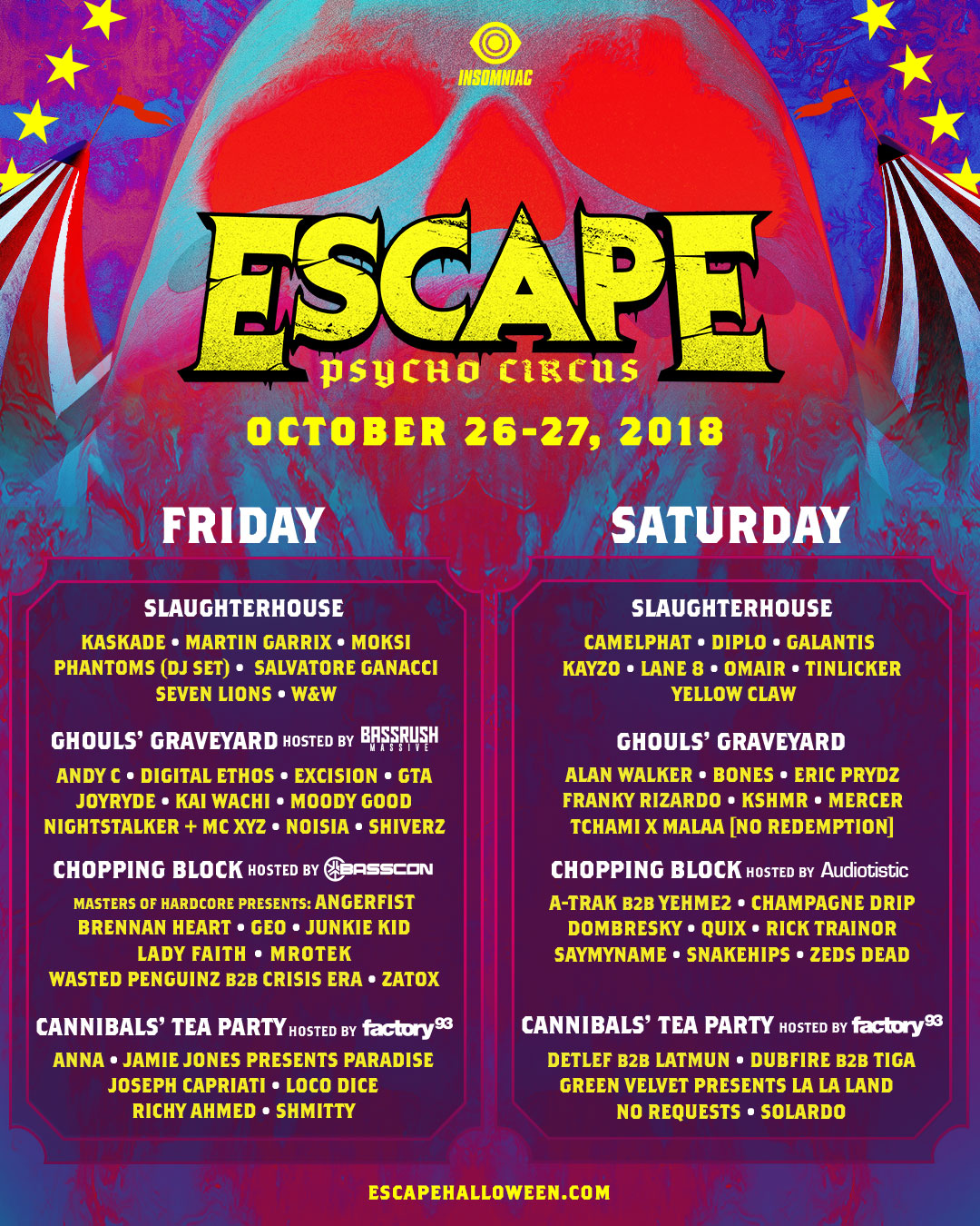 Escape lineup by stage flyer by day