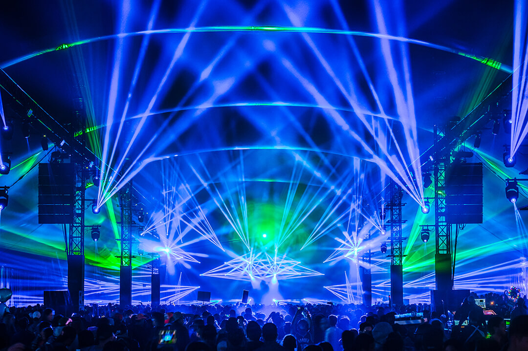 neonGARDEN stage with lasers