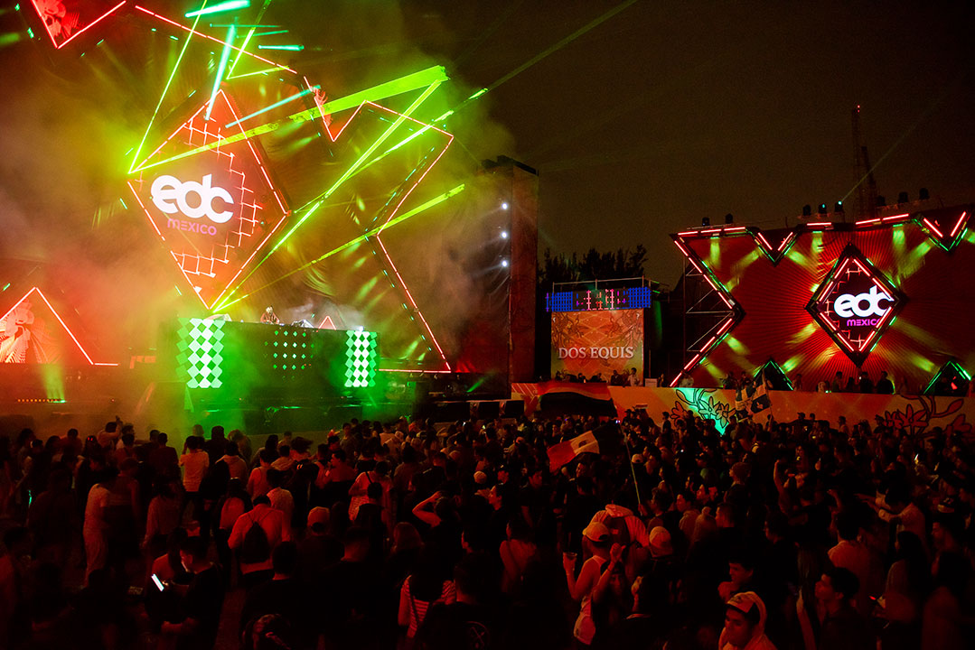 the Dos Equis stage with green lasers