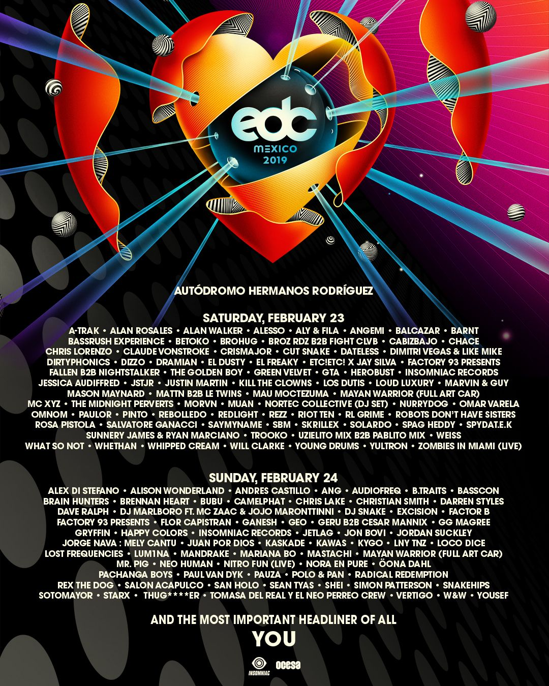EDC Mexico 2109 Lineup by Day