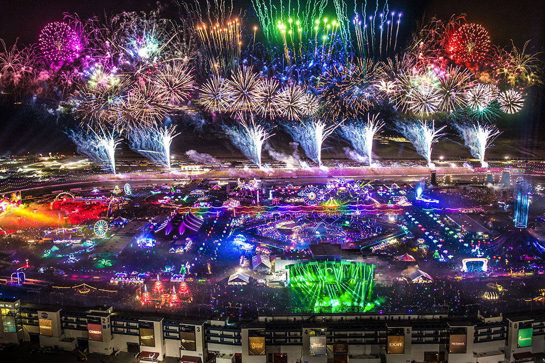 Check out an owl's-eye view of EDC during the fireworks spectacular.