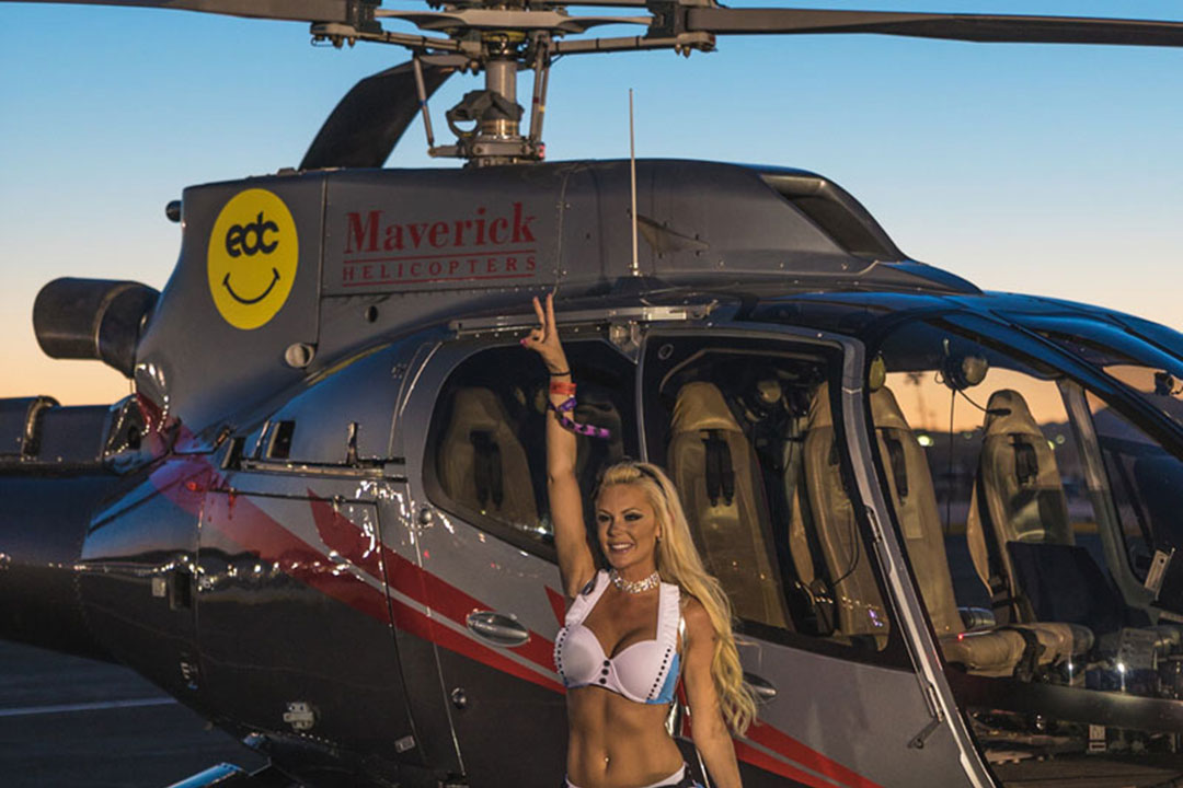 A helicopter ride is the quickest way to get to the festival—unless, of course, you're staying at Camp EDC!