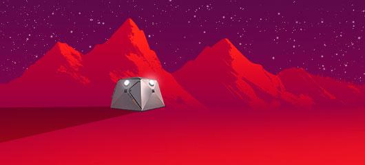 A ShfitPod2 in a red desert landscape
