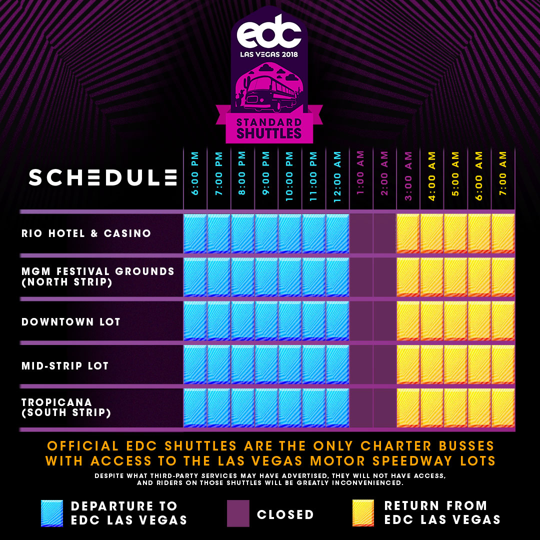 EDC Las Vegas 2018 Standard Shuttle Schedule