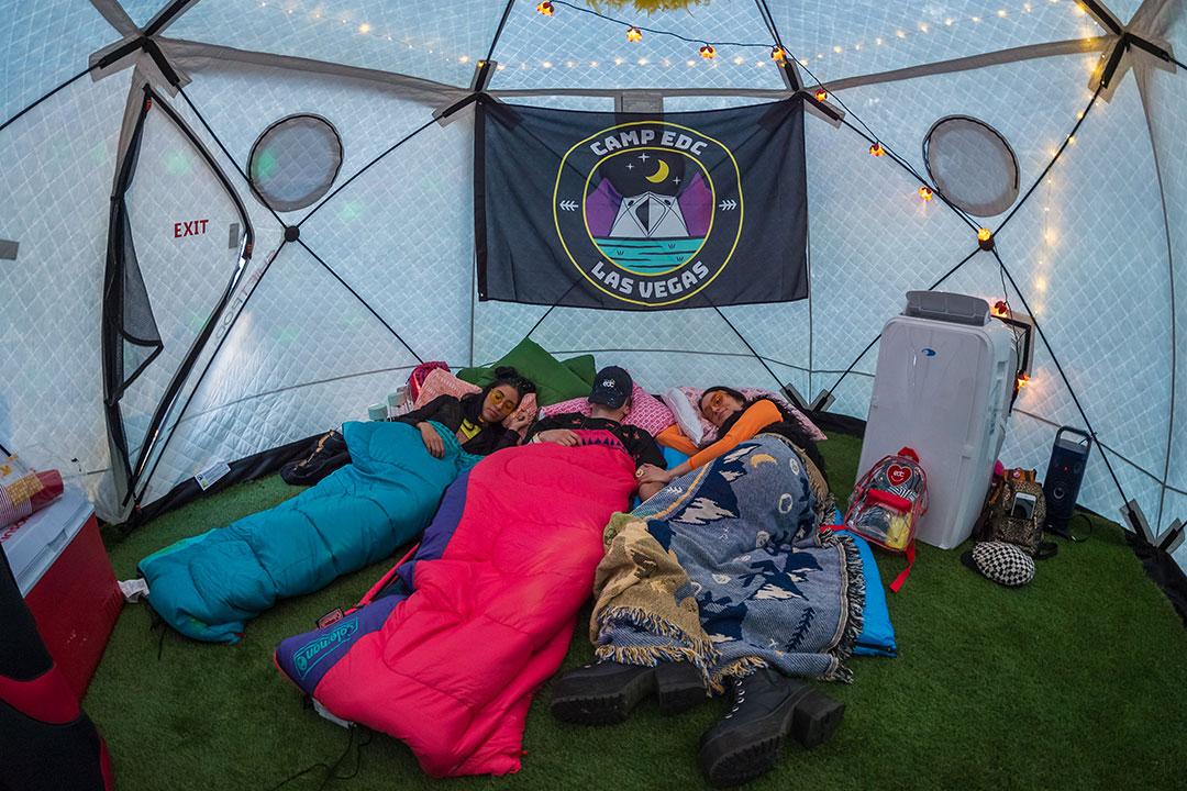 Headliners sleeping in their ShiftPod2