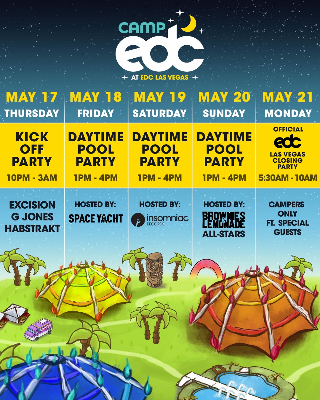 Camp EDC party schedule