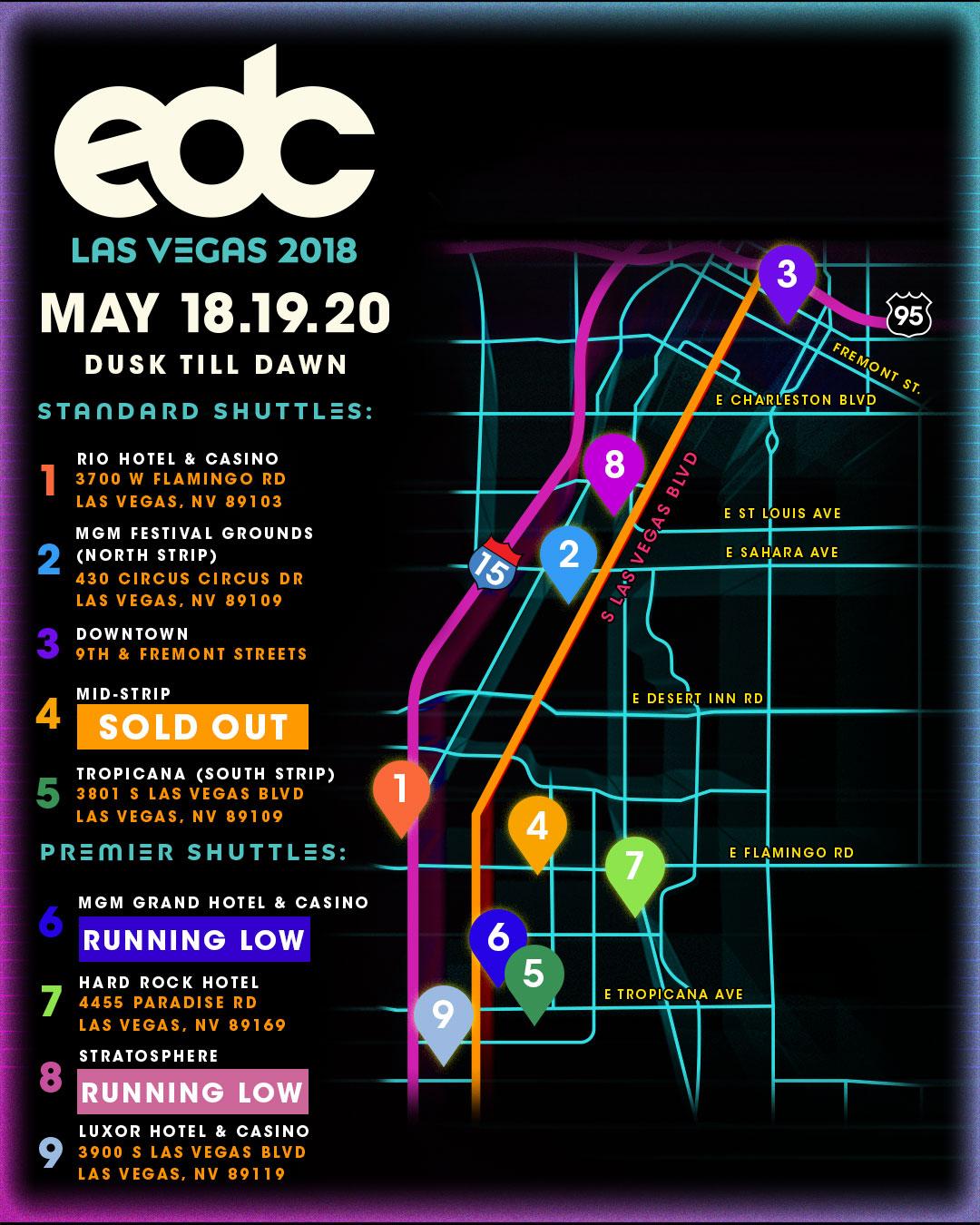 EDC Las Vegas shuttle map