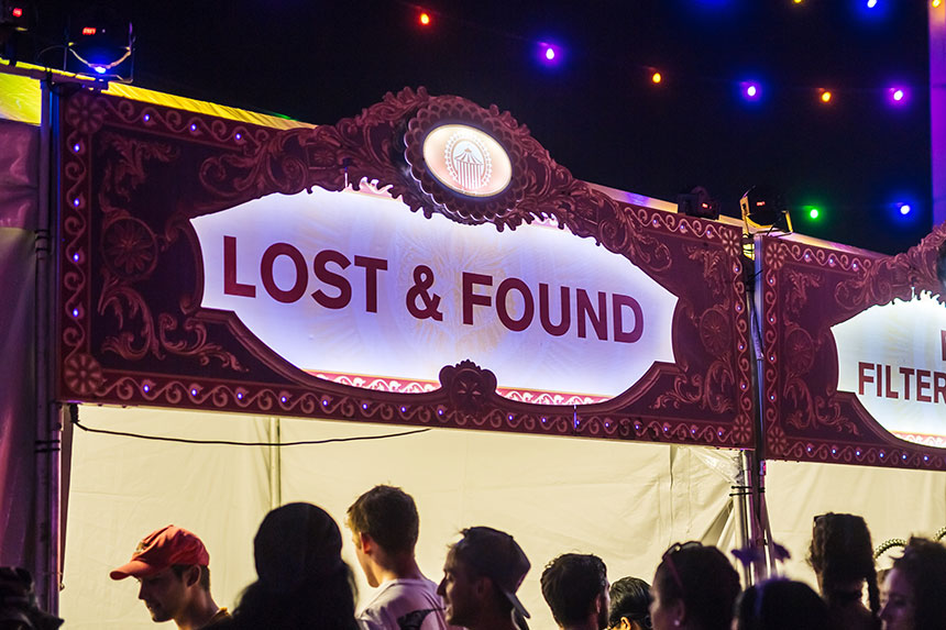 Lost & Found booth at EDC