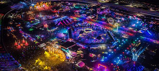 Aerial view of EDC Las Vegas at night