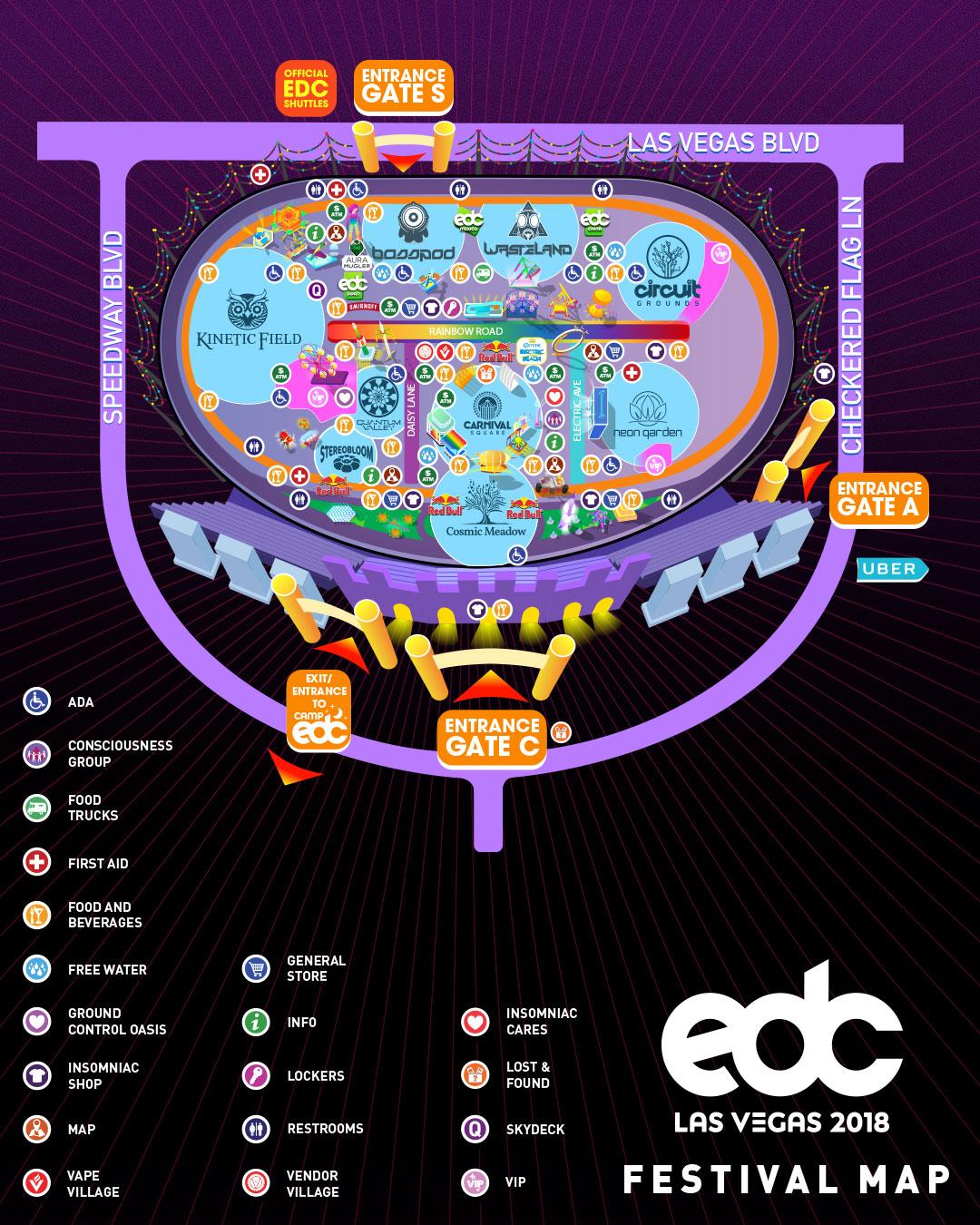 EDC Las Vegas 2018 festival map