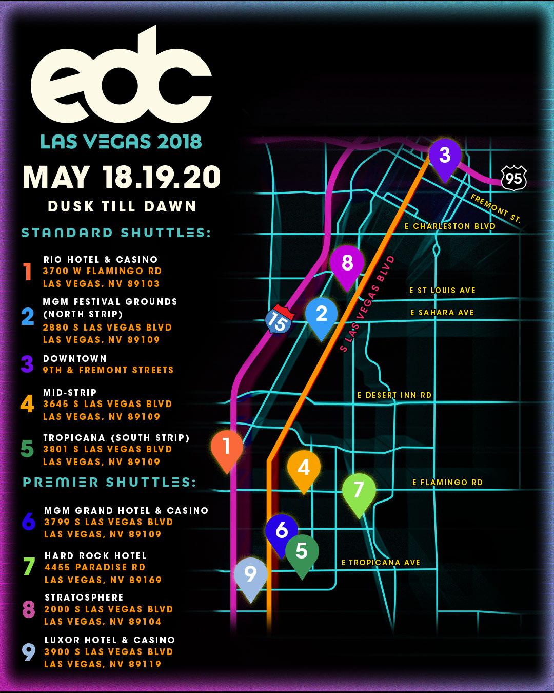 EDC Las Vegas 2018 shuttle map