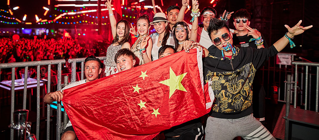 A group with a China flag