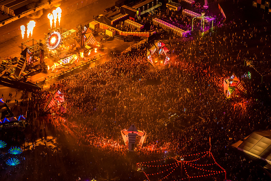 An aerial shot of a massive crowd