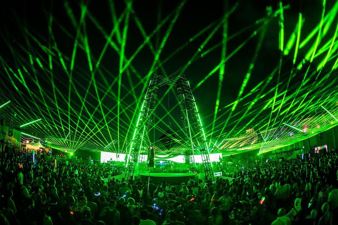Green laser light show