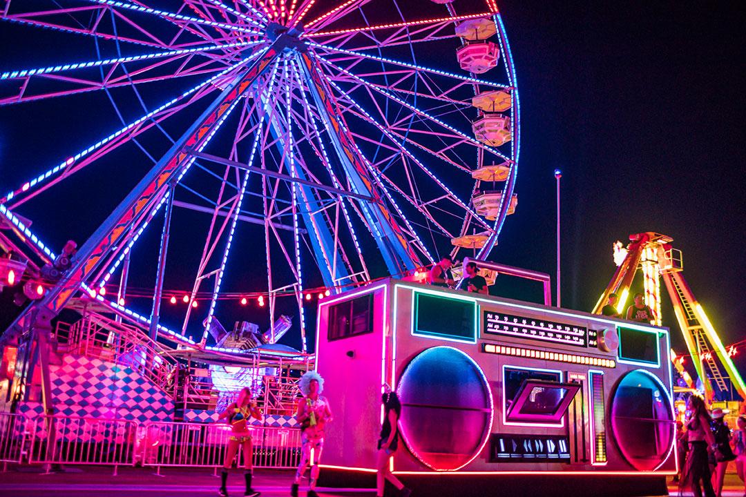 The Boombox art car by a Ferris wheel