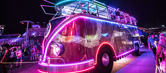 A glowing VW bus