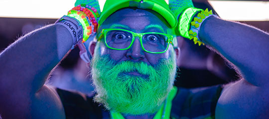 A man with a green beard