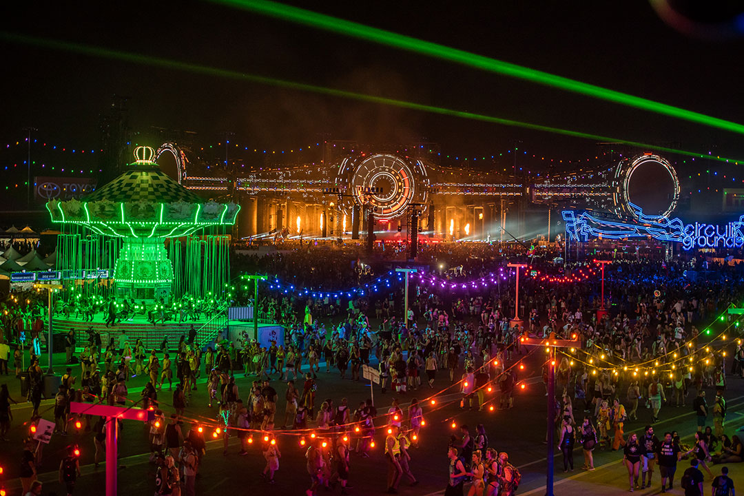 The festival lit up at night