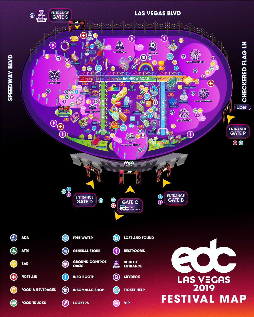 Updated festival map for EDC Las Vegas