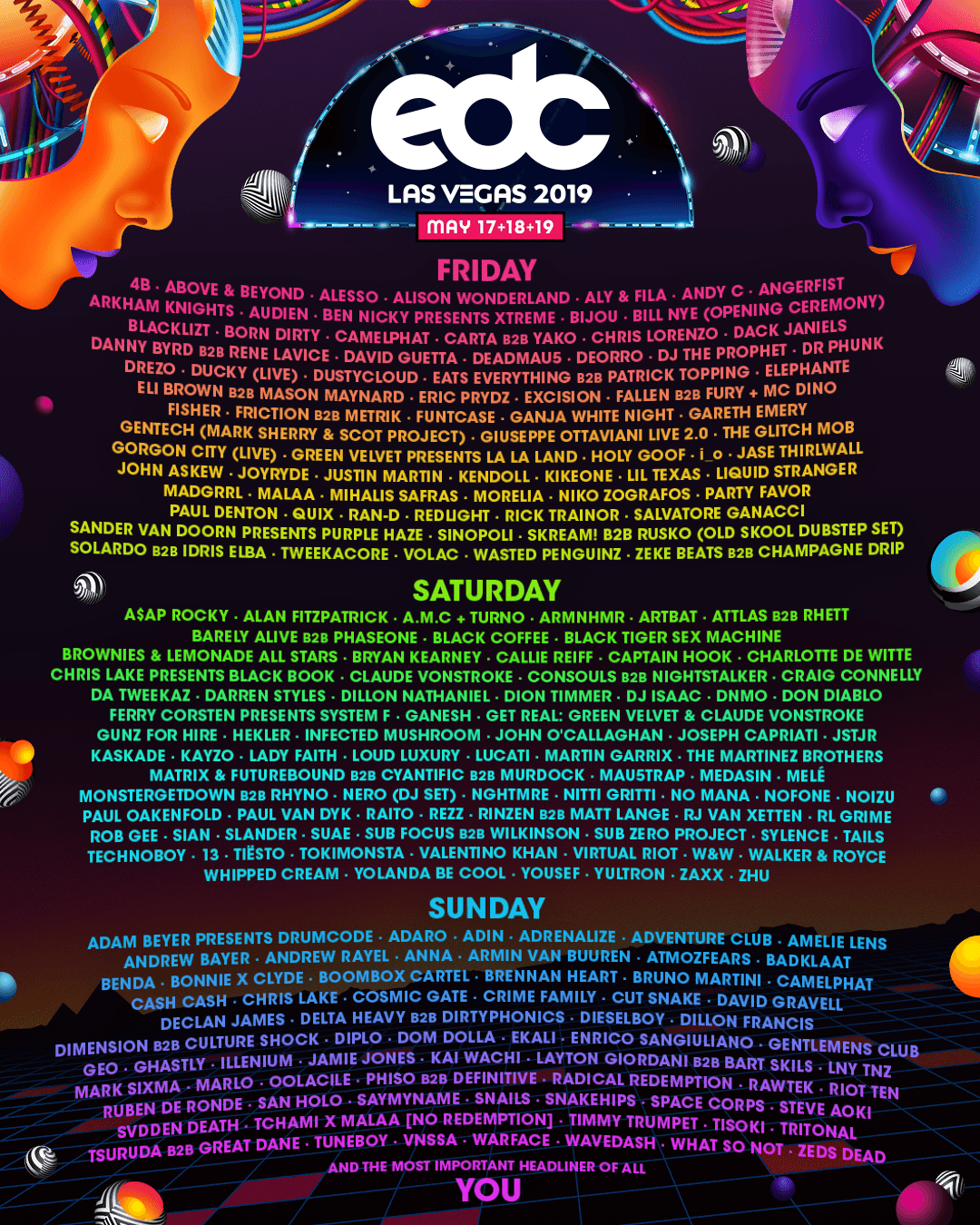 EDC Las Vegas 2019 lineup by day