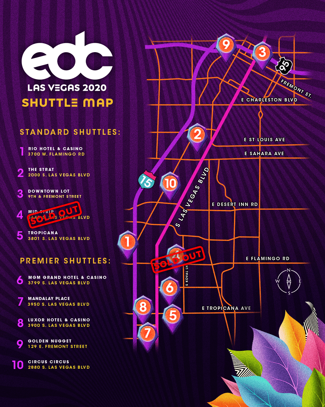 EDC Las Vegas shuttle map