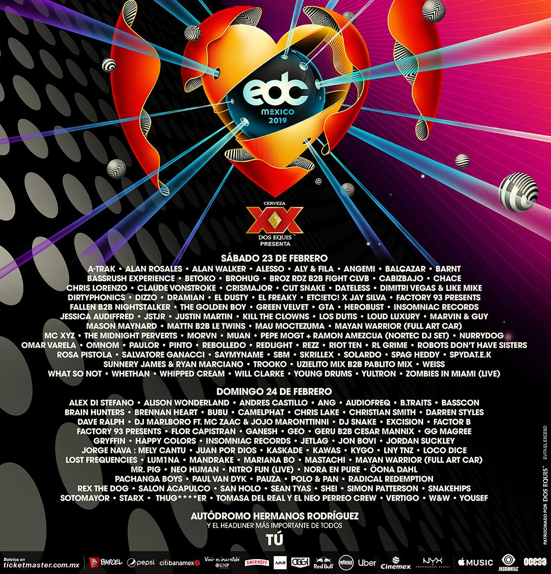 EDC Mexico 2019 Lineup by day