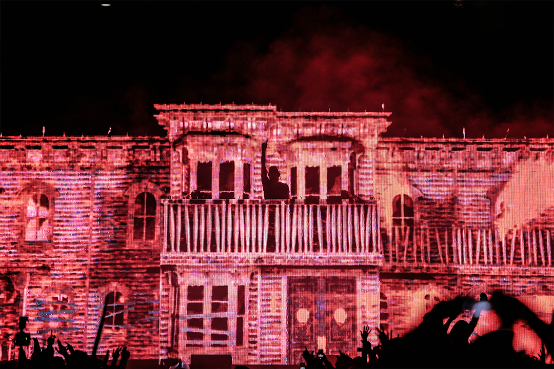 A red haunted house