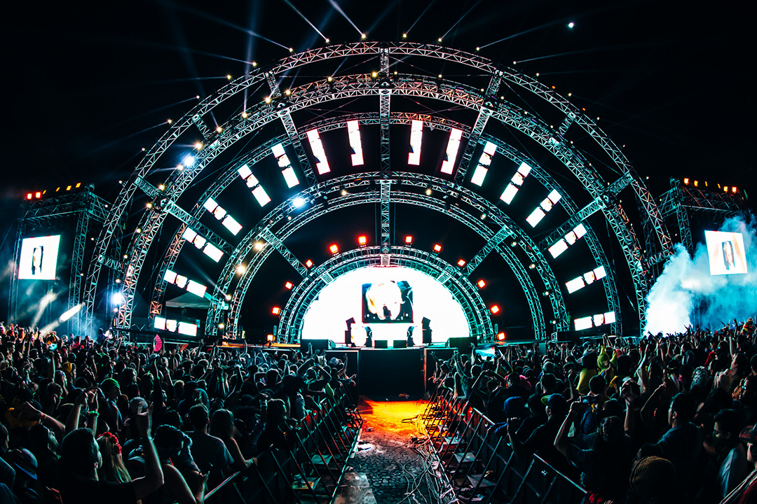 The stage at night