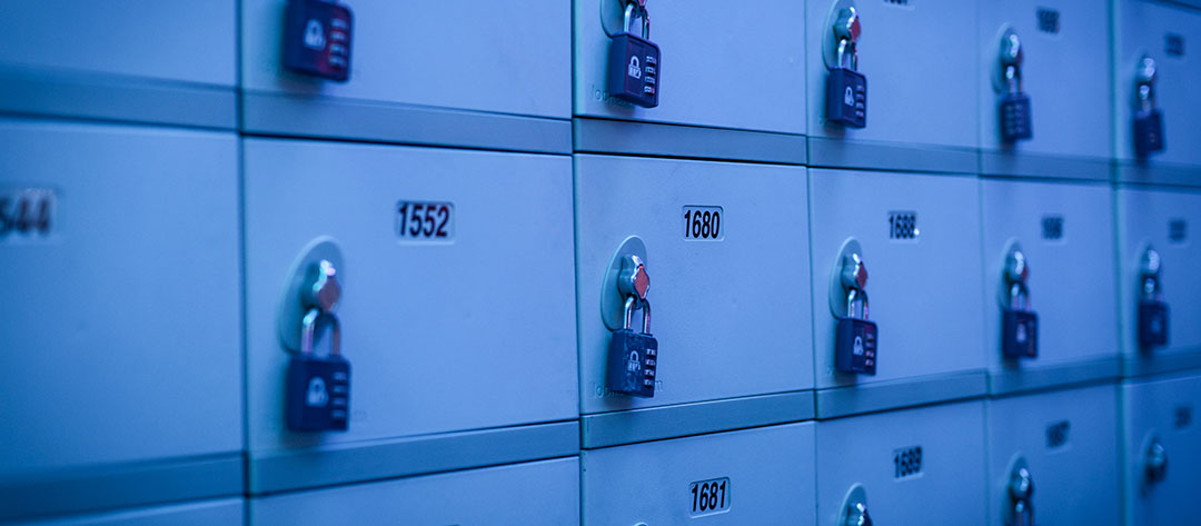 Lockers under blue light