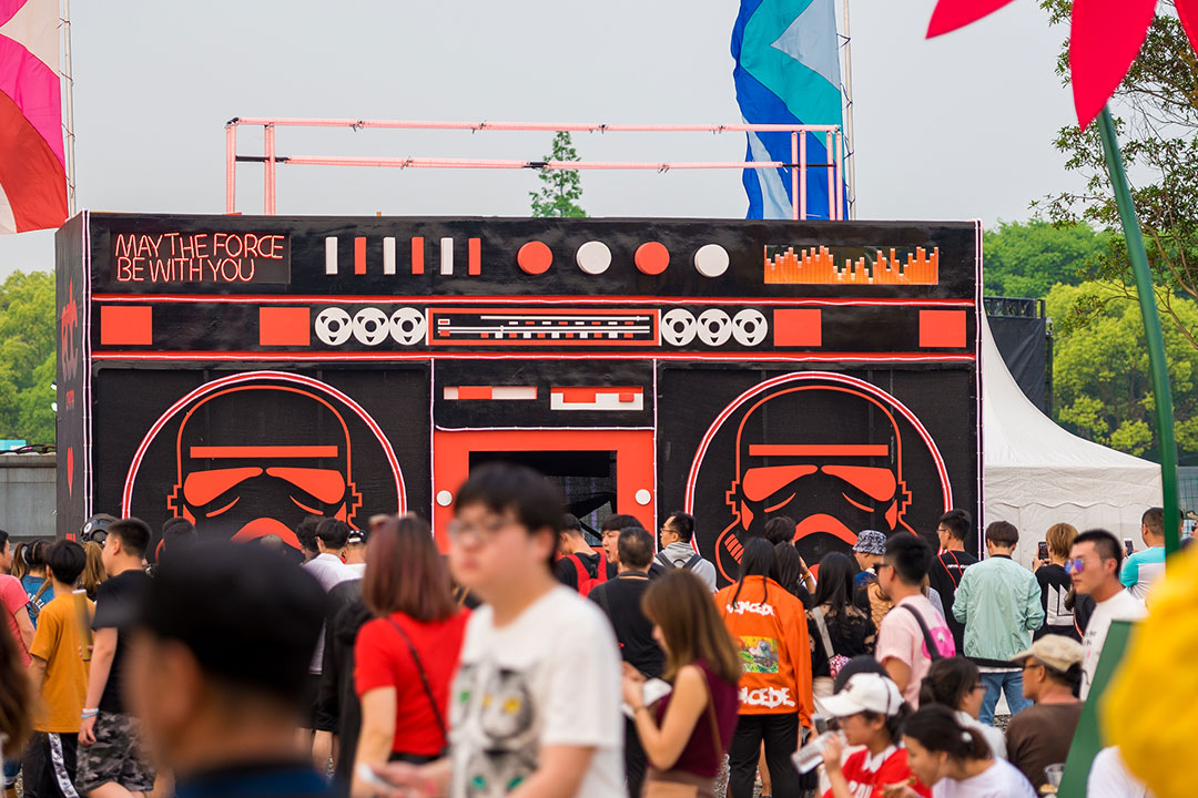 Headliners in front of the Boombox art car