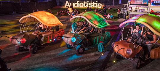 Glowing art cars