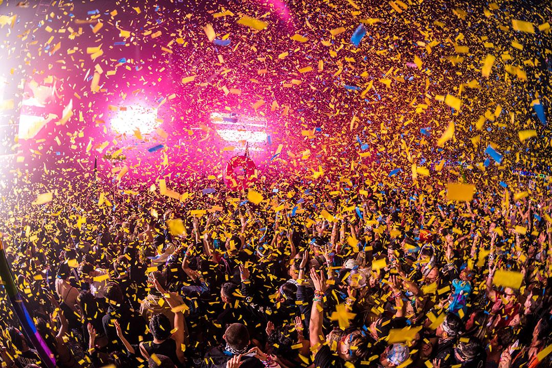 Confetti rains over the crowd