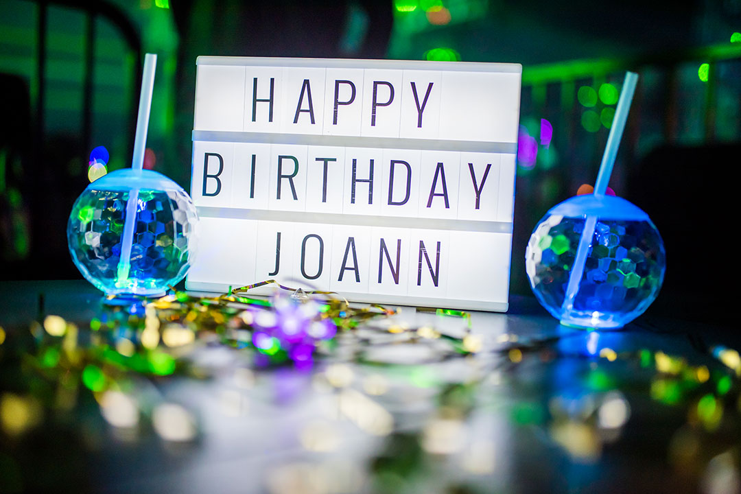 """HAPPY BIRTHDAY JOANN"" sign"