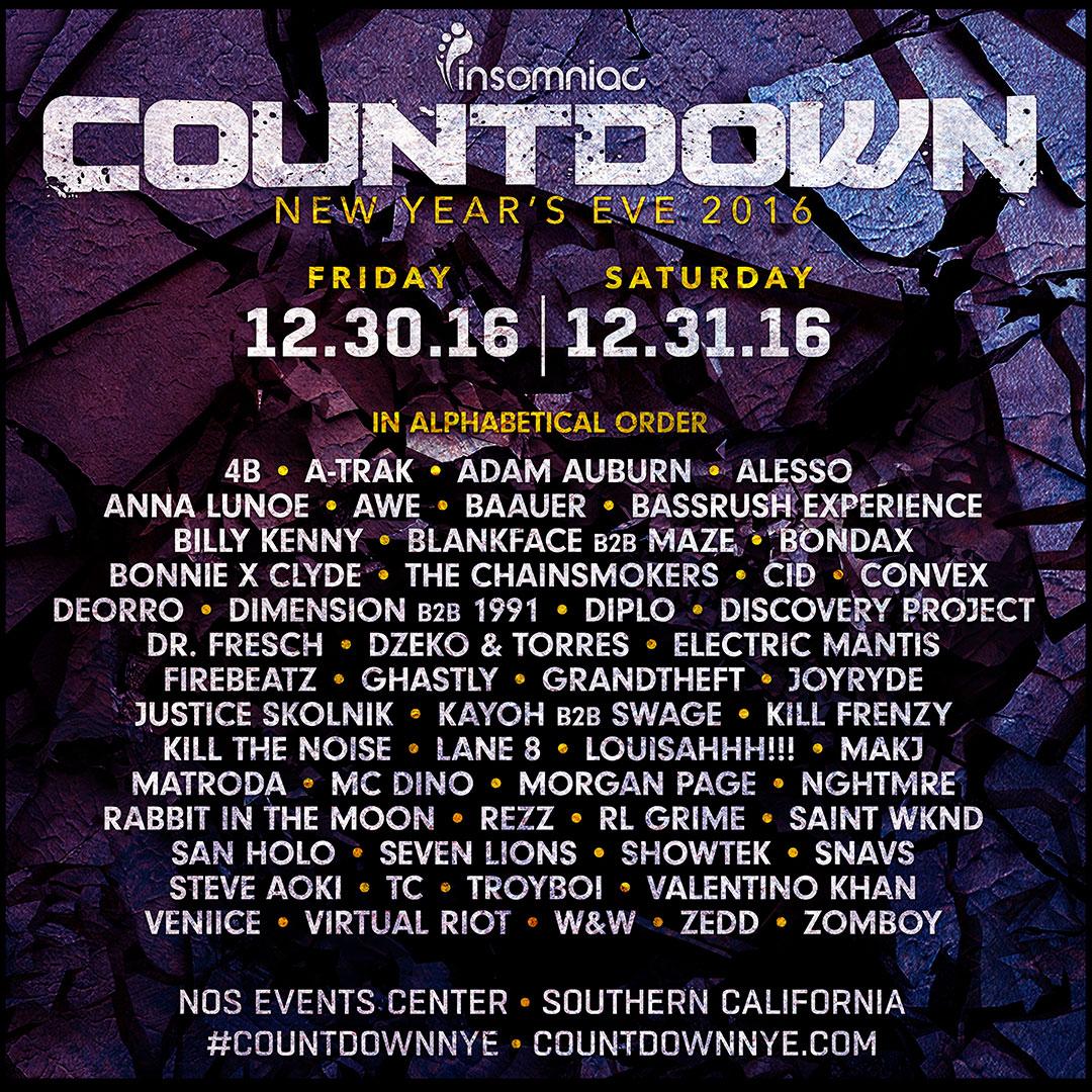 2016 Countdown lineup