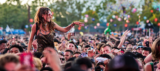A girl above the crowd