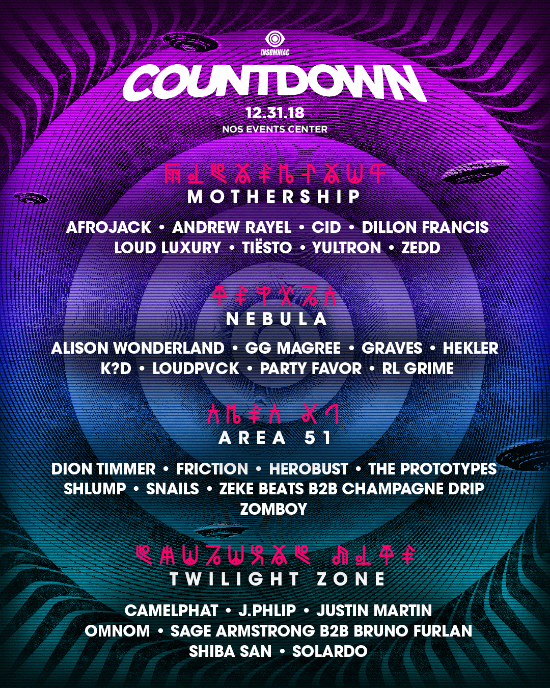 Countdown NYE 2018 lineup by stage