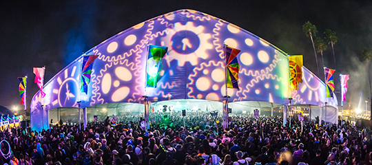 Cogs transposed on a tent at Countdown NYE