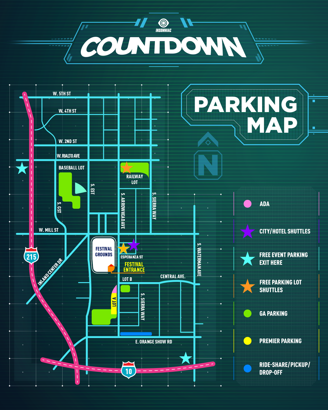 Countdown NYE 2018 Festival Parking Map