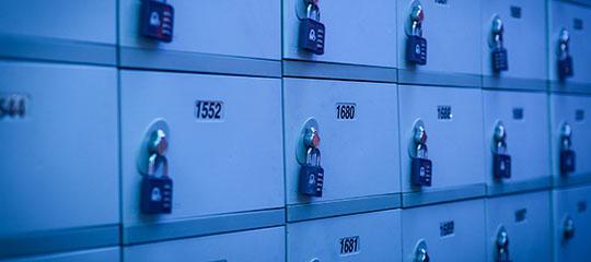 Lockers under blue light