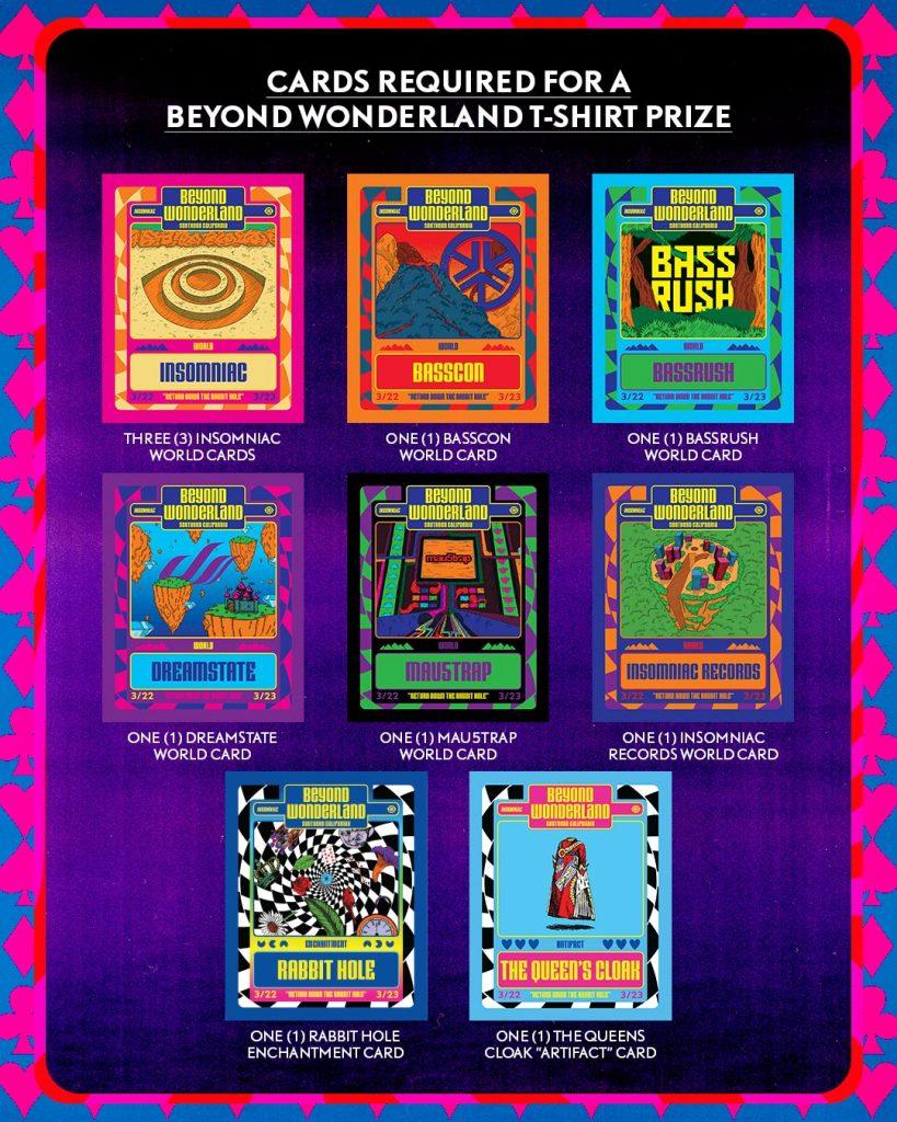 Beyond Wonderland t-shirt prize cards