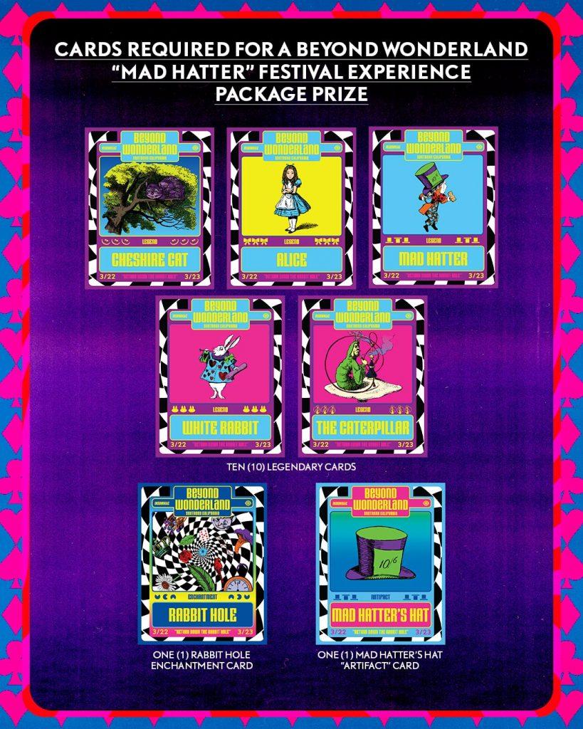 """Beyond Wonderland """"Mad Hatter' prize cards"""
