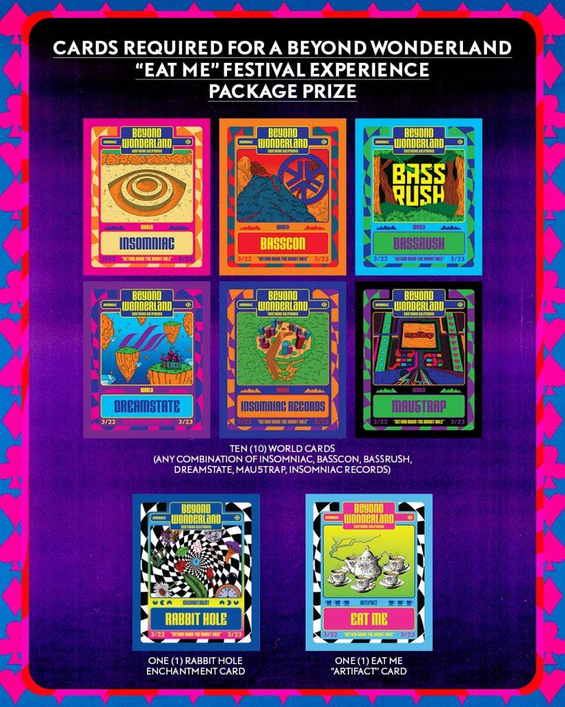 """Beyond Wonderland """"Eat Me"""" prize cards"""