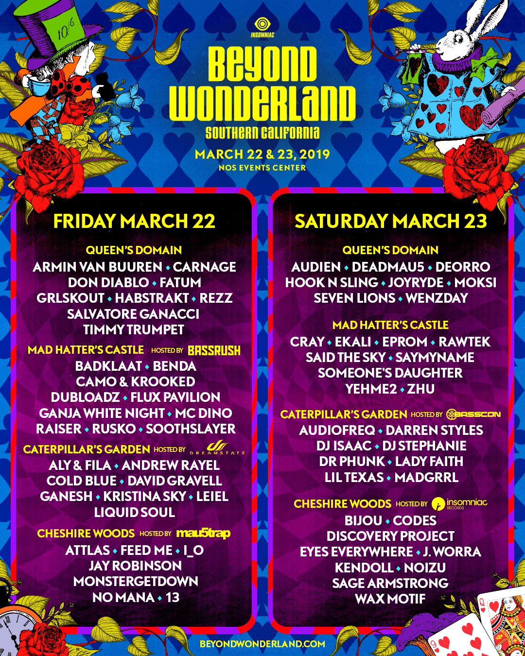 Beyond Wonderland 2019 lineup by day by stage artwrok