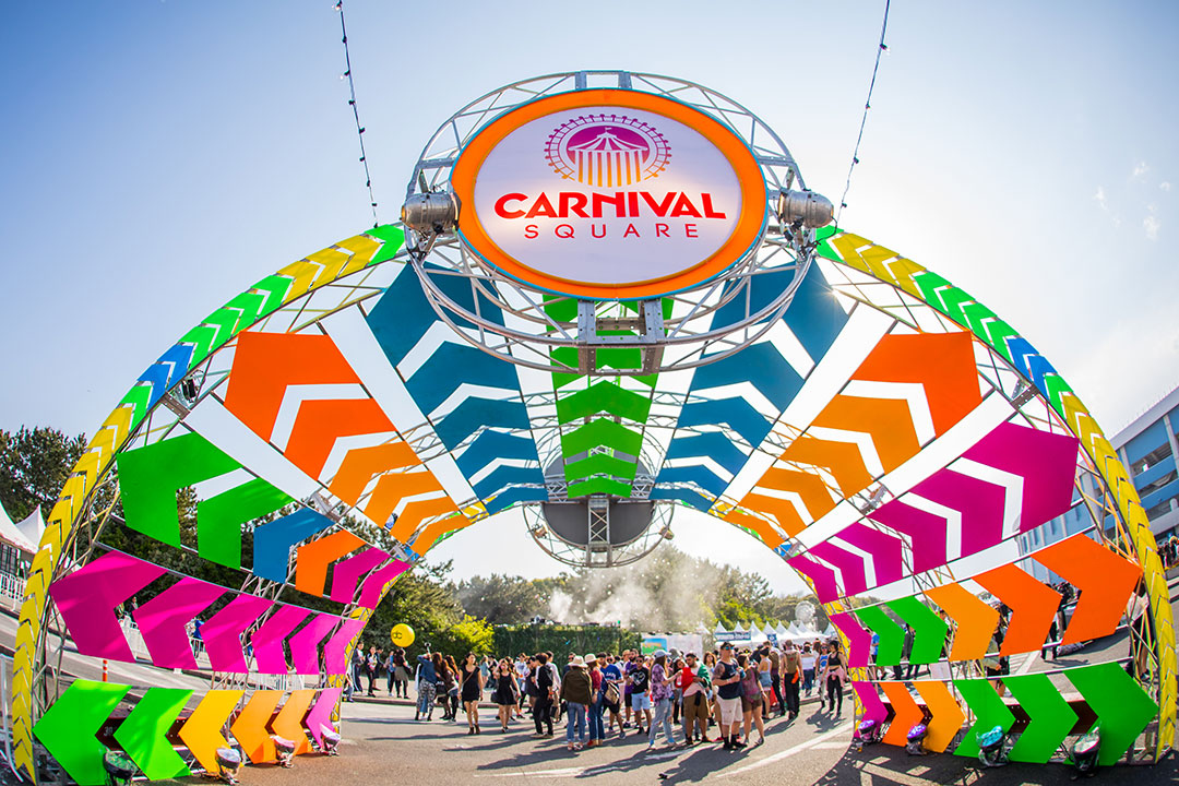 Welcome to Carnival Square, EDC's central hub for refreshments, vendors, and spaces to chill out.