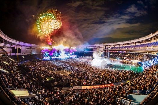 Fireworks explode over kineticFIELD