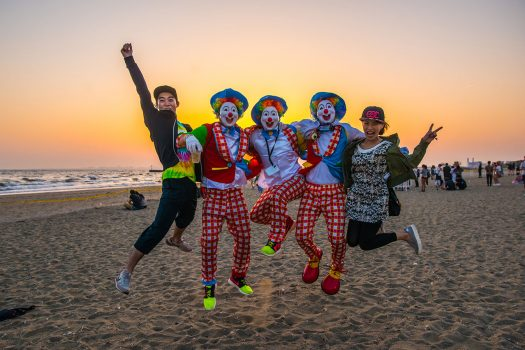 Headliners jump for joy on the beach at EDC Japan 2017