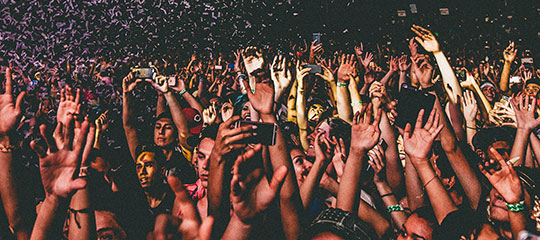 confetti over the crowd