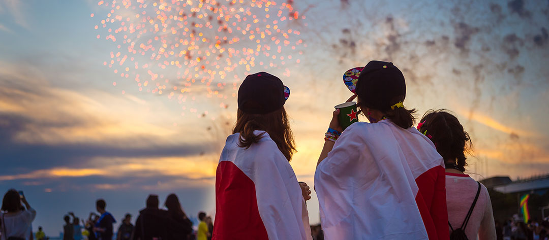 Girls watching fireworks